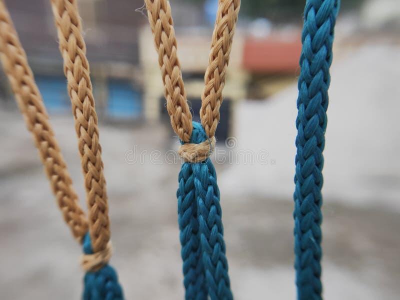 Nodo sul colpo del primo piano della corda fotografie stock