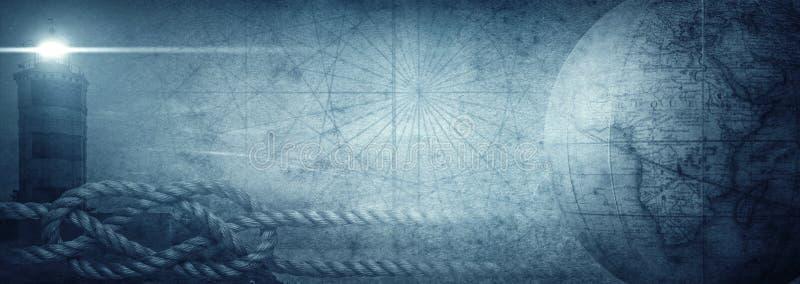 Nodo vecchio del globo, del faro e del mare sul fondo astratto della mappa Pirata, esploratore, viaggio e fondo nautico di lerciu fotografie stock