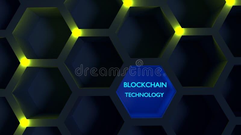 Nodos amarillos que brillan intensamente en un concepto del blockchain de la estructura de panal libre illustration