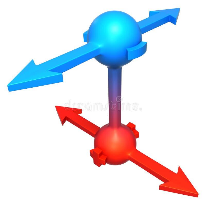 Nodos de la polaridad de la flecha stock de ilustración