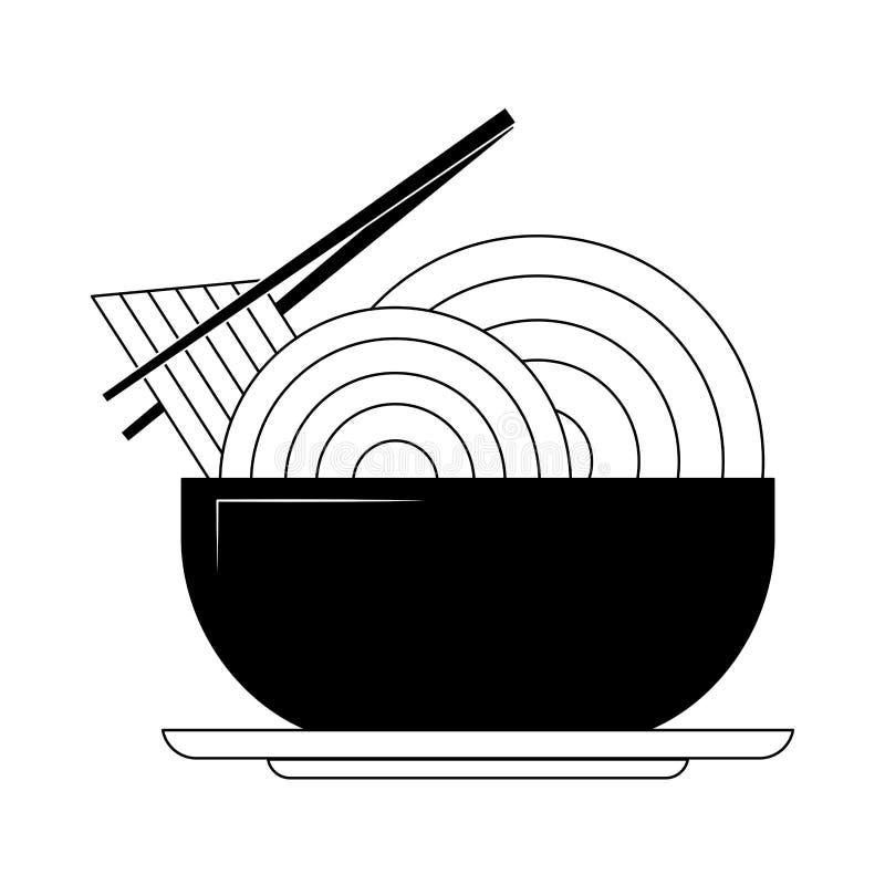 Noedel op schotel in zwart-wit vector illustratie