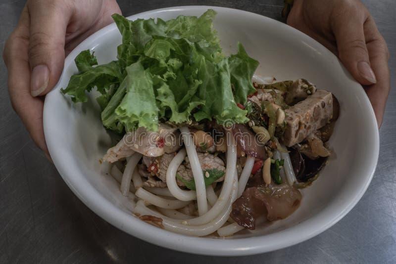 Noedel van de Hainan de kruidige rijst met gesmoord varkensvlees in Thaise stijl op roestvrij staallijst Zeer heerlijk lokaal voe stock afbeeldingen