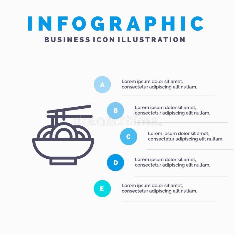 Noedel, Voedsel, China, Chinees Blauw Infographics-Malplaatje 5 Stappen Het vectormalplaatje van het lijnpictogram vector illustratie