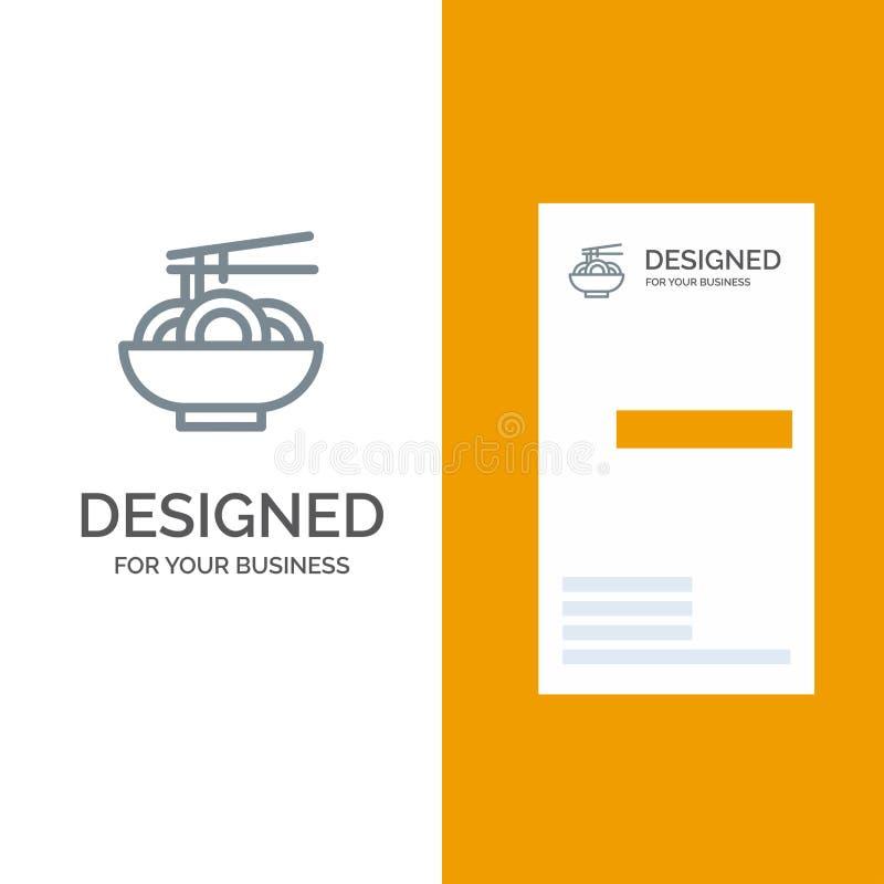 Noedel, Voedsel, China, Chinees Grey Logo Design en Visitekaartjemalplaatje vector illustratie