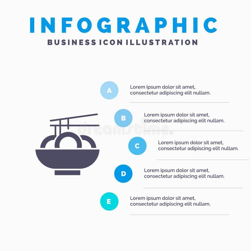 Noedel, Voedsel, China, Chinees Infographics-Presentatiemalplaatje 5 stappenpresentatie stock illustratie