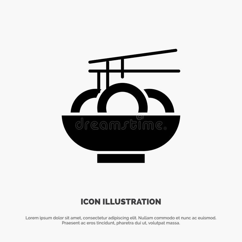 Noedel, Voedsel, China, Chinees Stevig Zwart Glyph-Pictogram stock illustratie