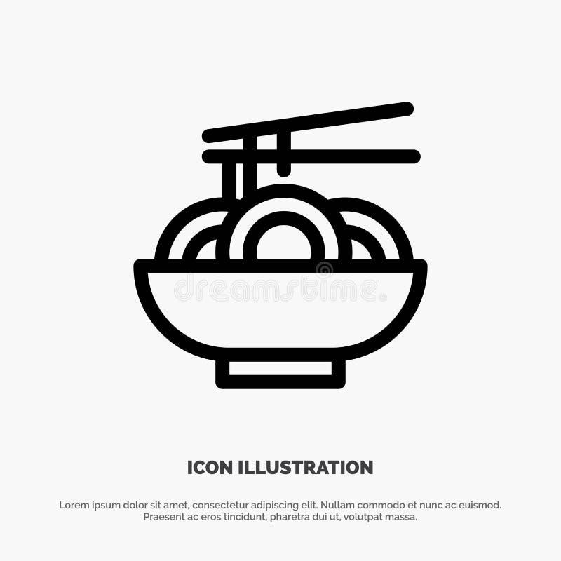 Noedel, Voedsel, China, Chinees Vectorlijnpictogram stock illustratie
