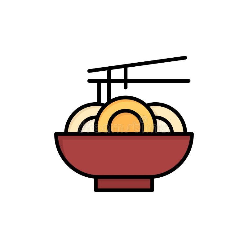 Noedel, Voedsel, China, Chinees Vlak Kleurenpictogram Het vectormalplaatje van de pictogrambanner vector illustratie