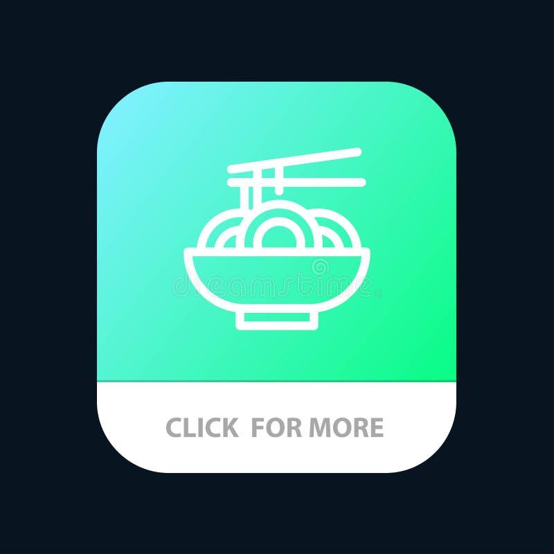 Noedel, Voedsel, China, Chinese Mobiele toepassingknoop Android en IOS Lijnversie vector illustratie