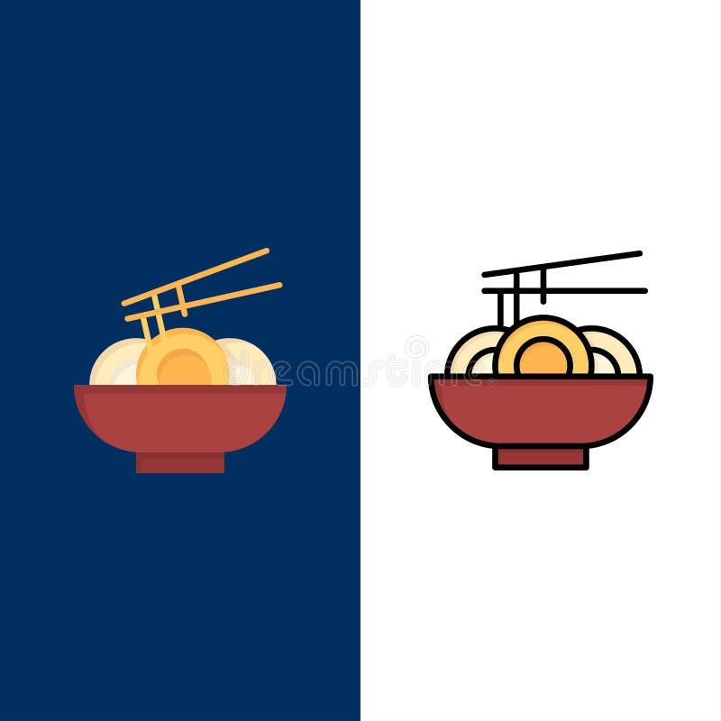 Noedel, Voedsel, China, Chinese Pictogrammen Vlak en Lijn vulde Pictogram Vastgestelde Vector Blauwe Achtergrond stock illustratie