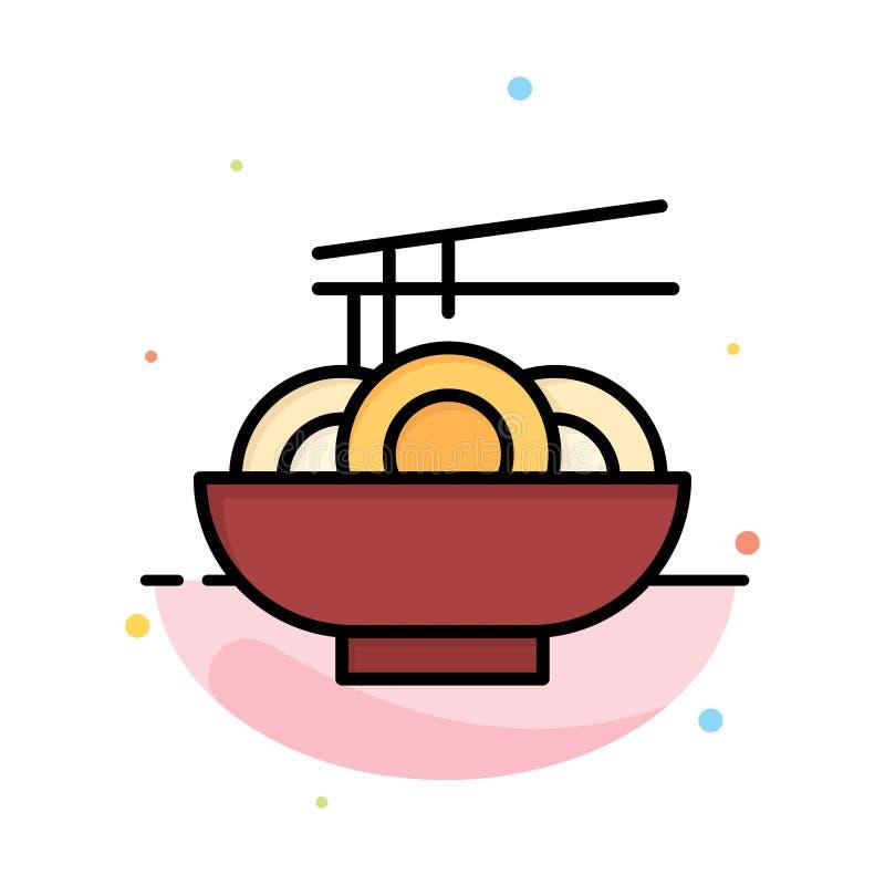 Noedel, Voedsel, China, het Chinese Abstracte Vlakke Malplaatje van het Kleurenpictogram stock illustratie