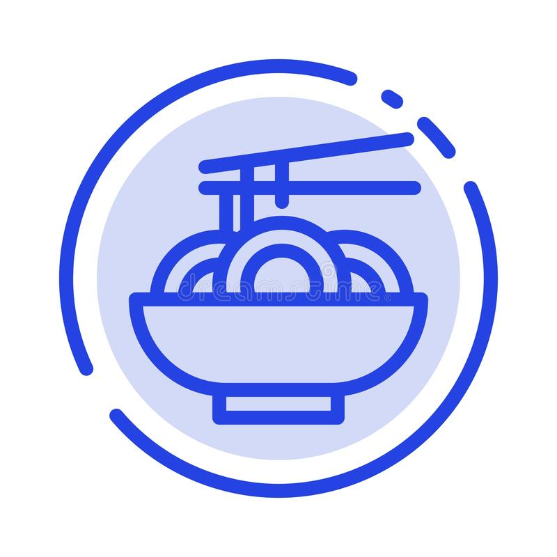 Noedel, Voedsel, China, het Chinese Blauwe Pictogram van de Gestippelde Lijnlijn vector illustratie