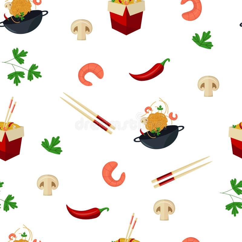 Noedel, wok en ingrediënten op naadloos patroon royalty-vrije illustratie