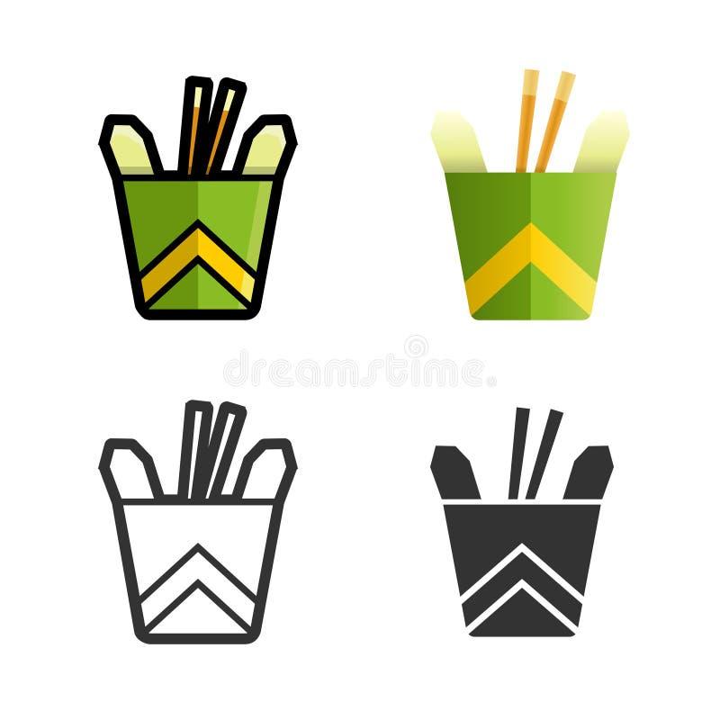 Noedels in een reeks van het doosvector gekleurde pictogram royalty-vrije illustratie