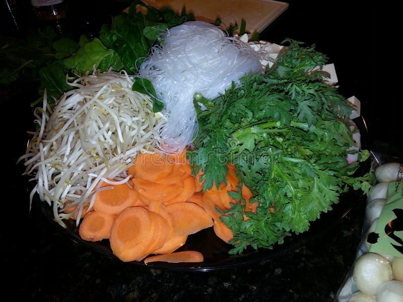 Noedels van Veggies van het Tsukiyaki de Japanse Voedsel stock foto's