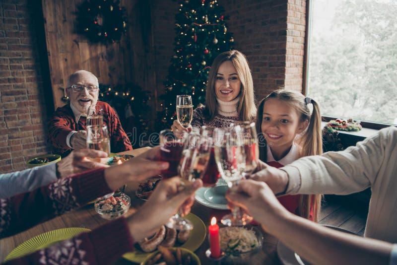 Noel-Abendfamilientreffen, Sitzung Geerntetes Weinglas, Beifall lizenzfreie stockfotografie