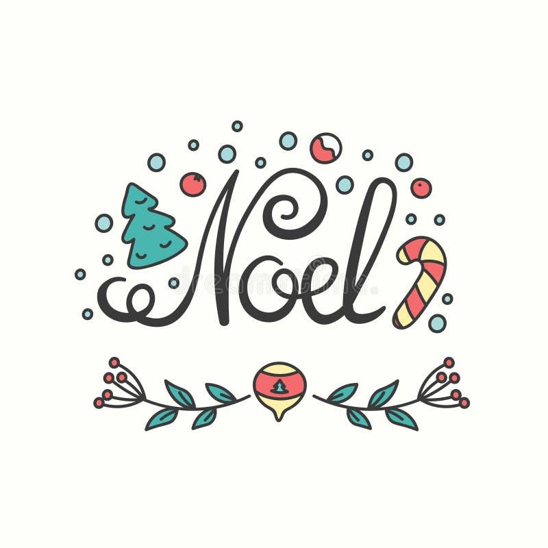 Noel Card Winterurlaub-Typografie Handdrawn Beschriftung lizenzfreie abbildung