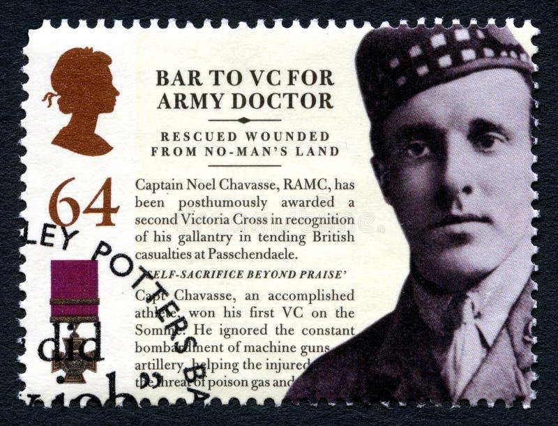 Noel Chavasse VC znaczek pocztowy od UK zdjęcia stock
