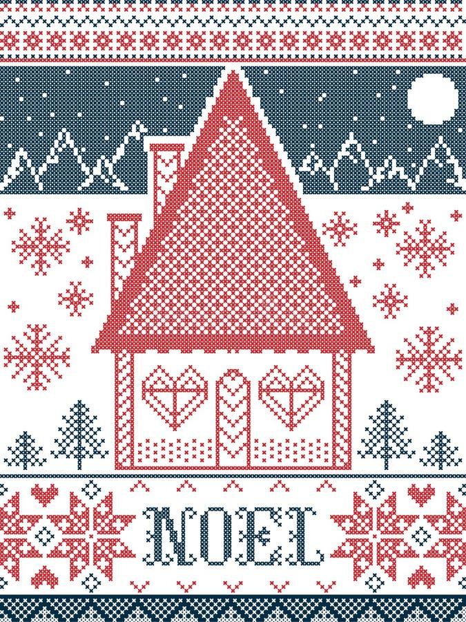 Noel Christmas-Muster mit Wintermärchenlanddorf, nahtlose Musterelemente angespornt durch nordischen festlichen Winterkreuzstich vektor abbildung
