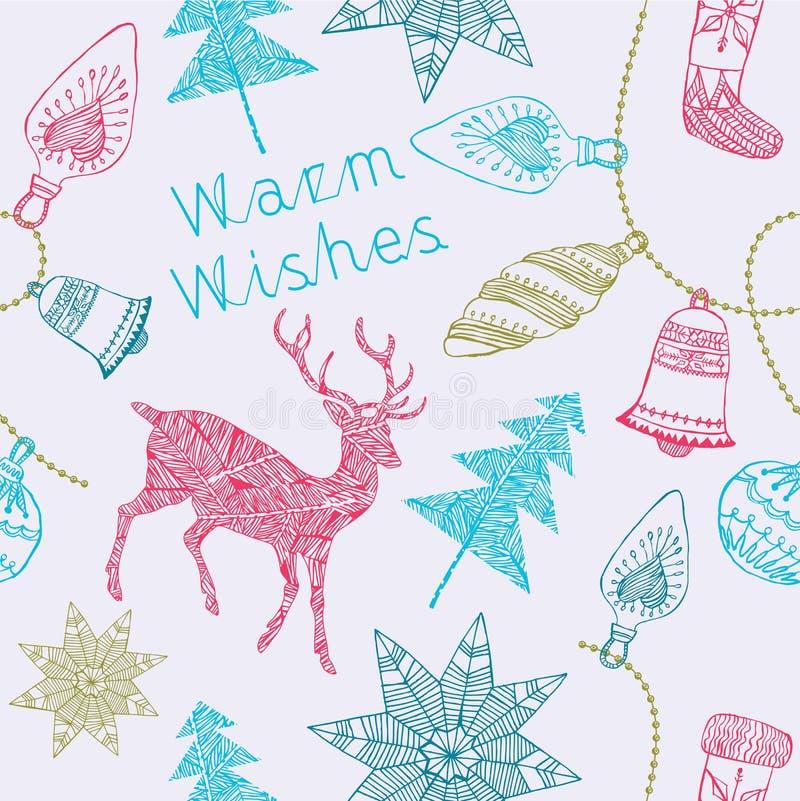 Noel-Karte mit Rotwild und Weihnachtsdekorationen. lizenzfreie abbildung
