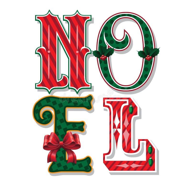 Noel verzierte Weihnachtstypographie auf französisch lizenzfreie abbildung