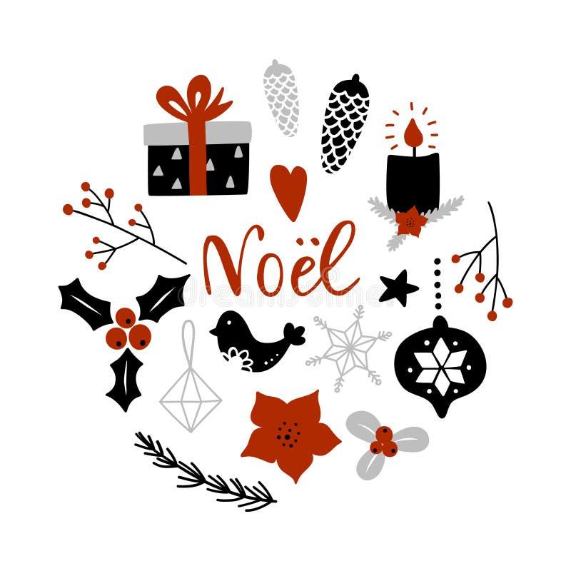 Noel, Weihnachten auf Franzosen Kreiszusammensetzung mit Weihnachtsdekorationsattributen lizenzfreie abbildung