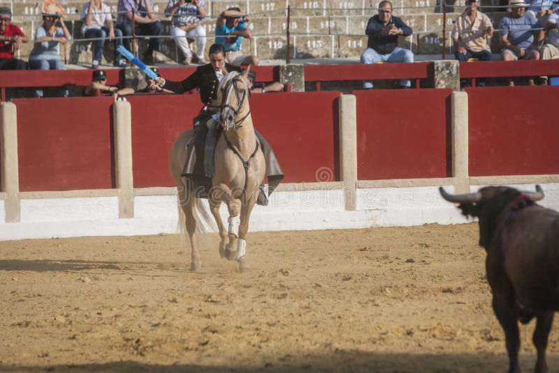Noelia Mota, bullfighter on horseback spanish, Ubeda, Jaen, Spain. Ubeda, SPAIN - September 29, 2011: Noelia Mota, bullfighter on horseback spanish in the royalty free stock photo