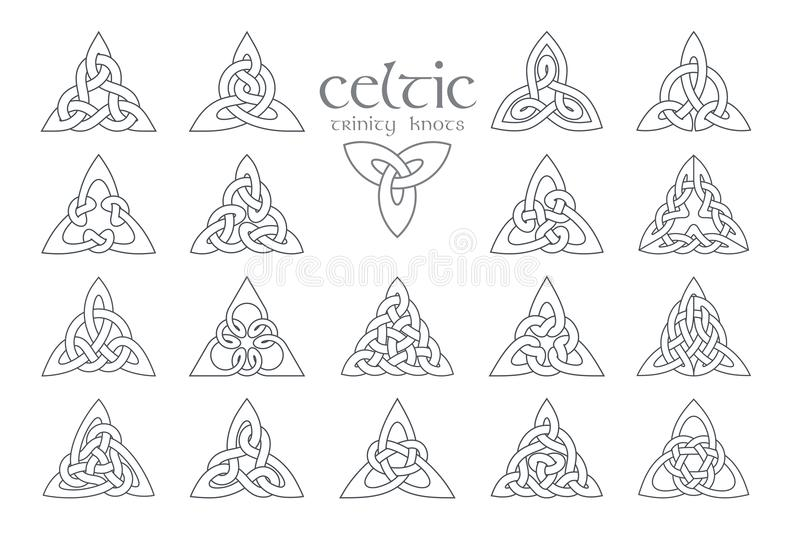 Noeud celtique de trinité de vecteur 18 articles Ornement ethnique géométrique illustration stock