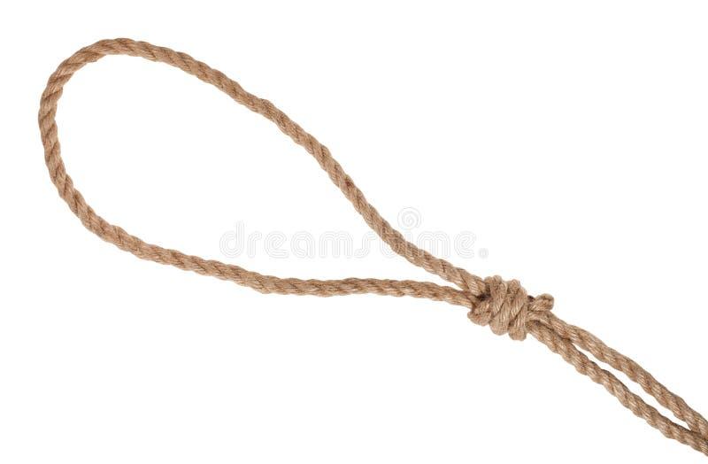 noeud coulant avec le noeud de potence attaché sur la corde épaisse de jute photo stock