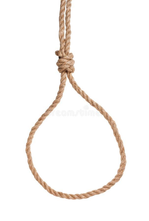 noeud coulant de glissement avec le noeud d'échafaudage attaché sur la corde de jute image libre de droits