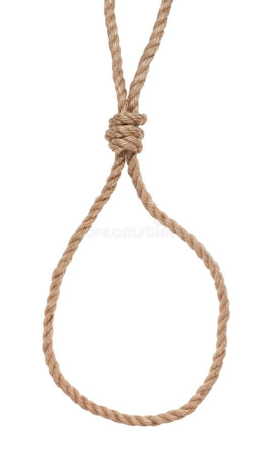 Noeud coulant de glissement avec le noeud de potence attaché sur la corde de jute photographie stock