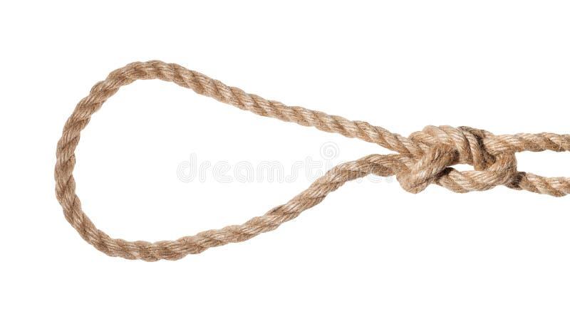 noeud coulant glissé de boucle de figure-huit attaché sur la corde de jute photos libres de droits