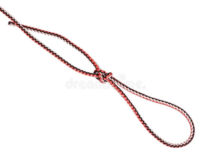 Noeud coulant glissé de boucle de figure-huit attaché sur la corde image libre de droits