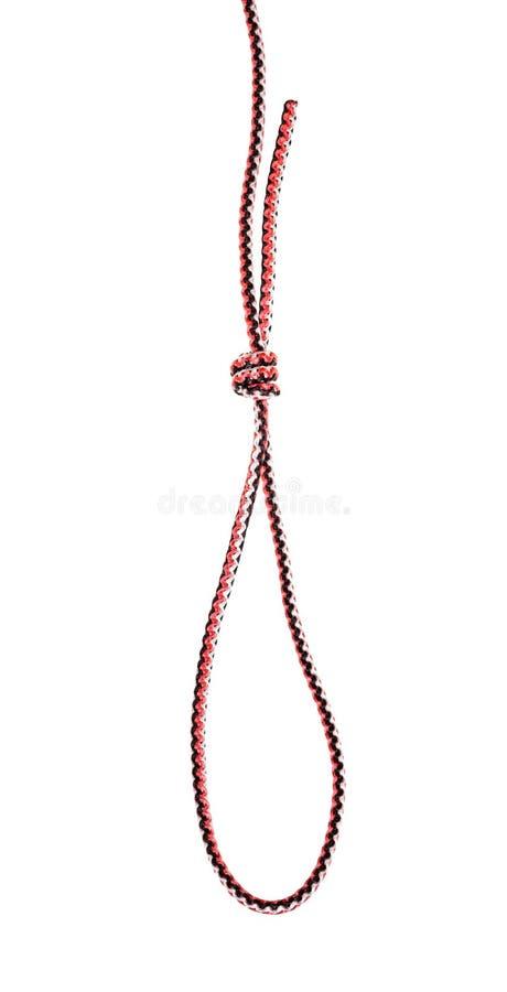 Noeud de boucle d'échafaudage attaché sur la corde synthétique photo libre de droits