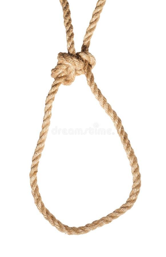 Noeud de bouline courant attaché sur la corde de jute d'isolement images stock