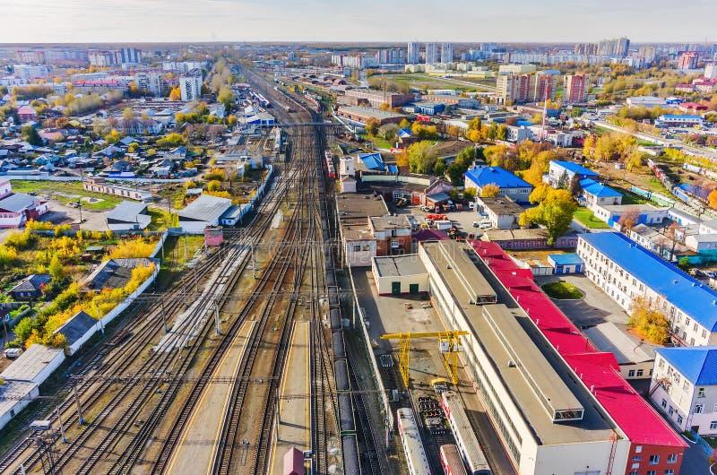 Noeud de chemin de fer de Voynovka Secteur industriel Tyumen image libre de droits