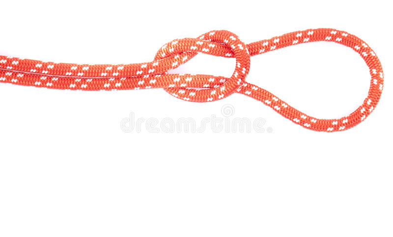 Noeud de corde rouge avec la boucle photographie stock