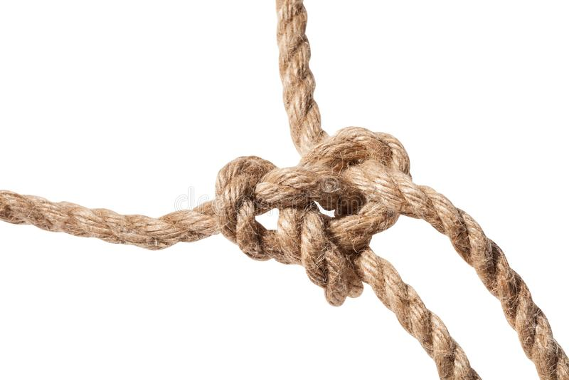 noeud de fin courante de boucle de bouline sur la corde photographie stock