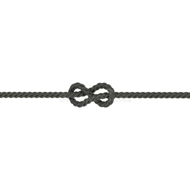 Noeud flamand de corde, huit noeuds D'isolement sur le fond blanc illustration libre de droits