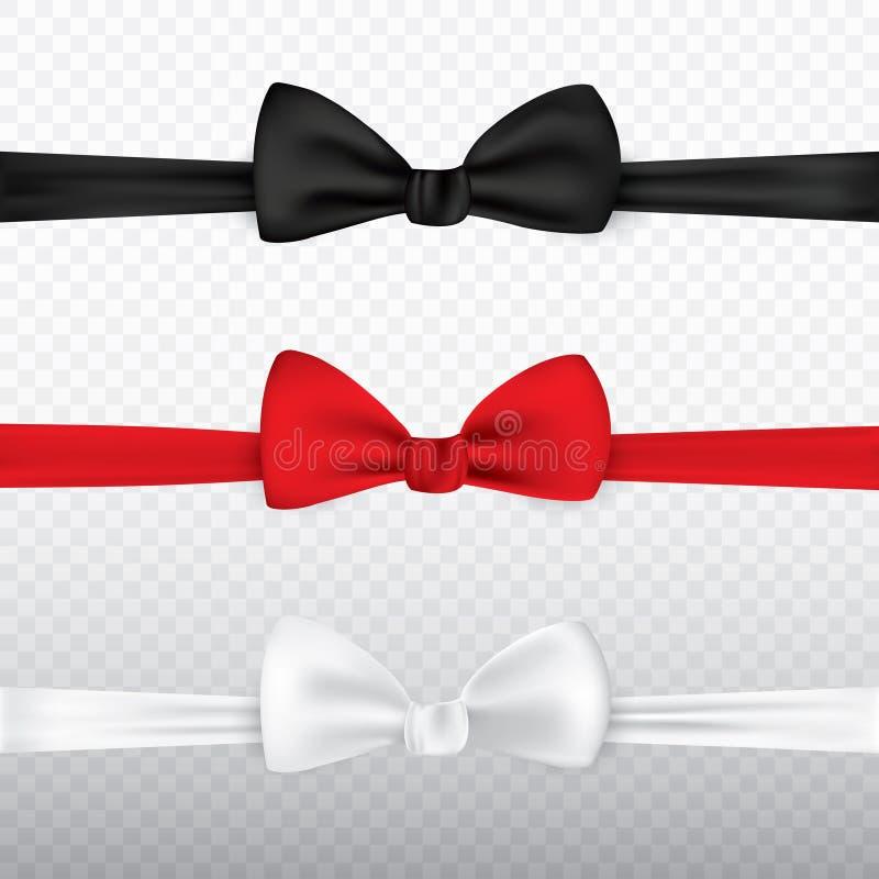 Noeud papillon blanc, noir et rouge réaliste d'isolement sur le fond transparent Ensemble de soie de noeud d'arc de lien, éléganc illustration de vecteur