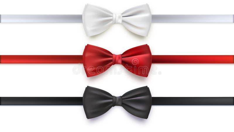 Noeud papillon blanc, noir et rouge réaliste, illustration de vecteur, d'isolement sur le fond blanc illustration stock