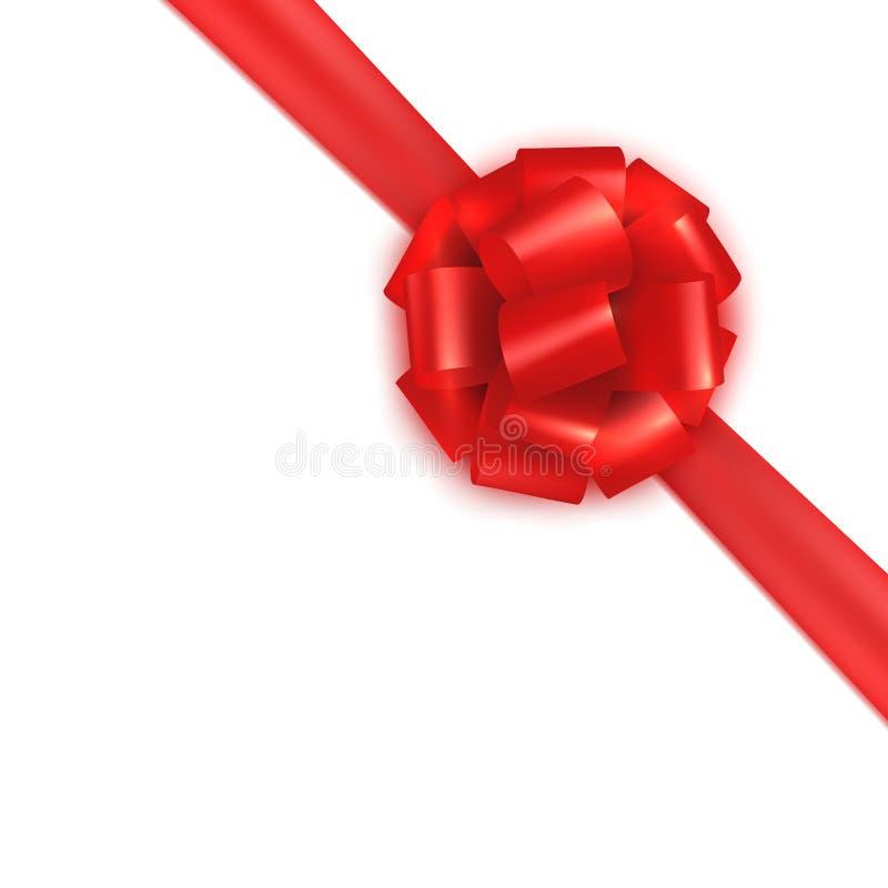 Noeud papillon en soie de satin d'emballage cadeau réaliste rouge Concevez le calibre pour le certificat, bon, carte cadeaux, bro illustration libre de droits