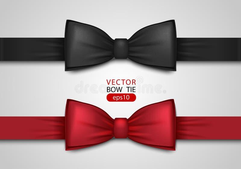 Noeud papillon noir et rouge, illustration réaliste de vecteur, d'isolement sur le fond blanc Arc en soie élégant de cou Accessoi illustration stock