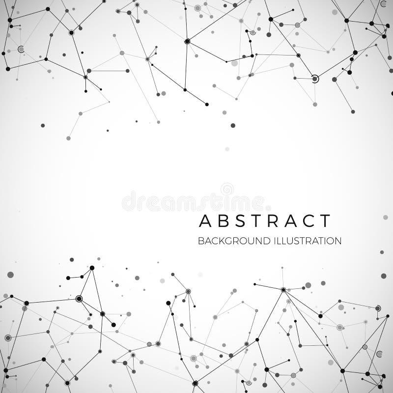 Noeud, points et lignes Fond graphique géométrique de particules abstraites Structure de atome, molécule et communication illustration libre de droits