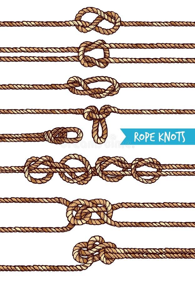 Noeuds de corde réglés illustration libre de droits
