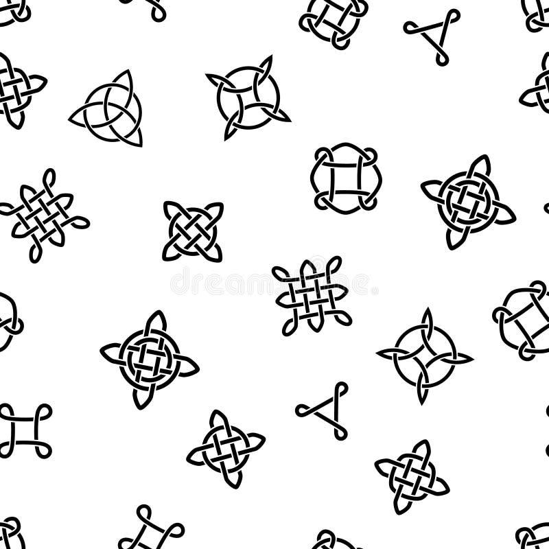 Noeuds et symboles celtiques noirs et blancs modèle sans couture ethnique, vecteur illustration stock