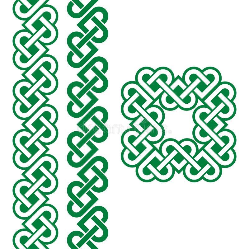 Noeuds, tresses et modèles irlandais verts celtiques illustration de vecteur