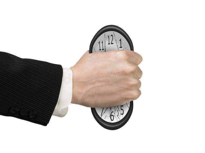 nog inte time Mans hand som griper klockan för att orsaka deformering fotografering för bildbyråer