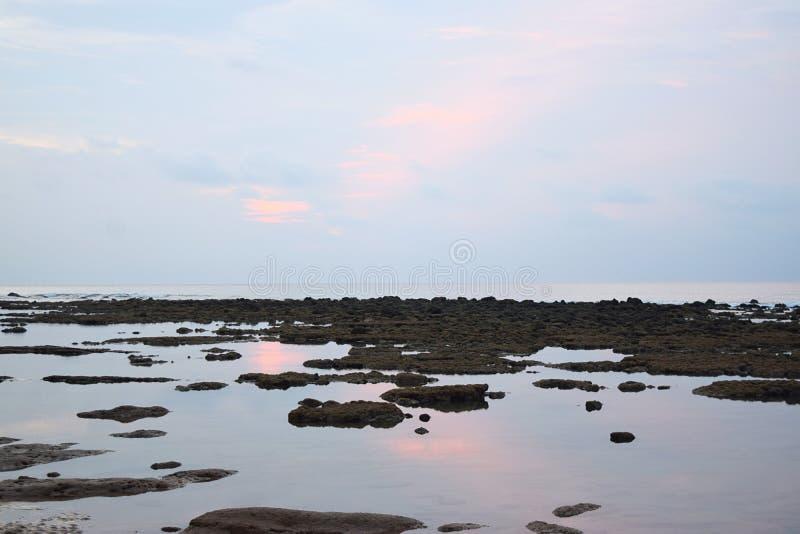 Nog Zeewater tijdens Eb bij Kuststreek - Rozeachtige Blauwe Duidelijke Ochtendhemel met Bezinning in Water - Natuurlijke Achtergr stock fotografie