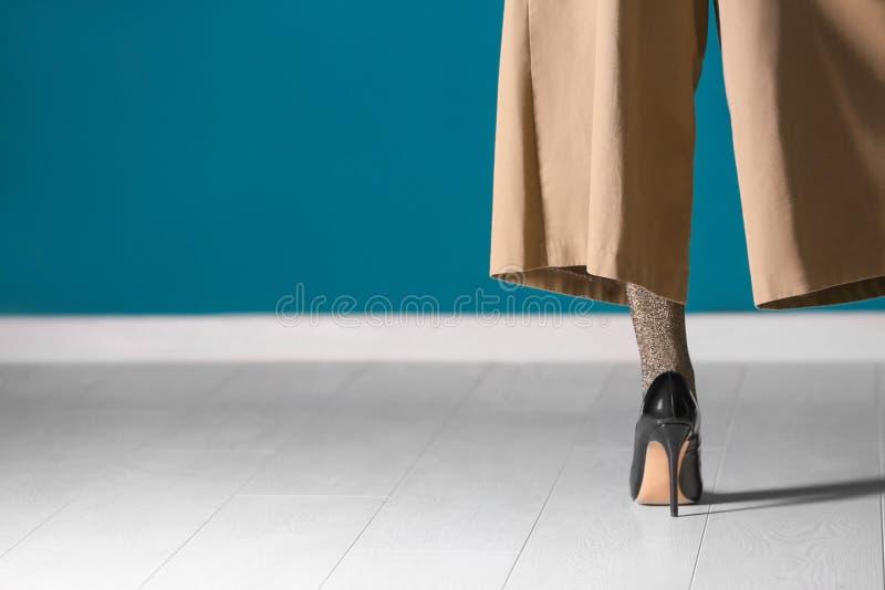 Noga piękna młoda kobieta w rajstopy i spodniach przeciw kolor ścianie zdjęcia stock